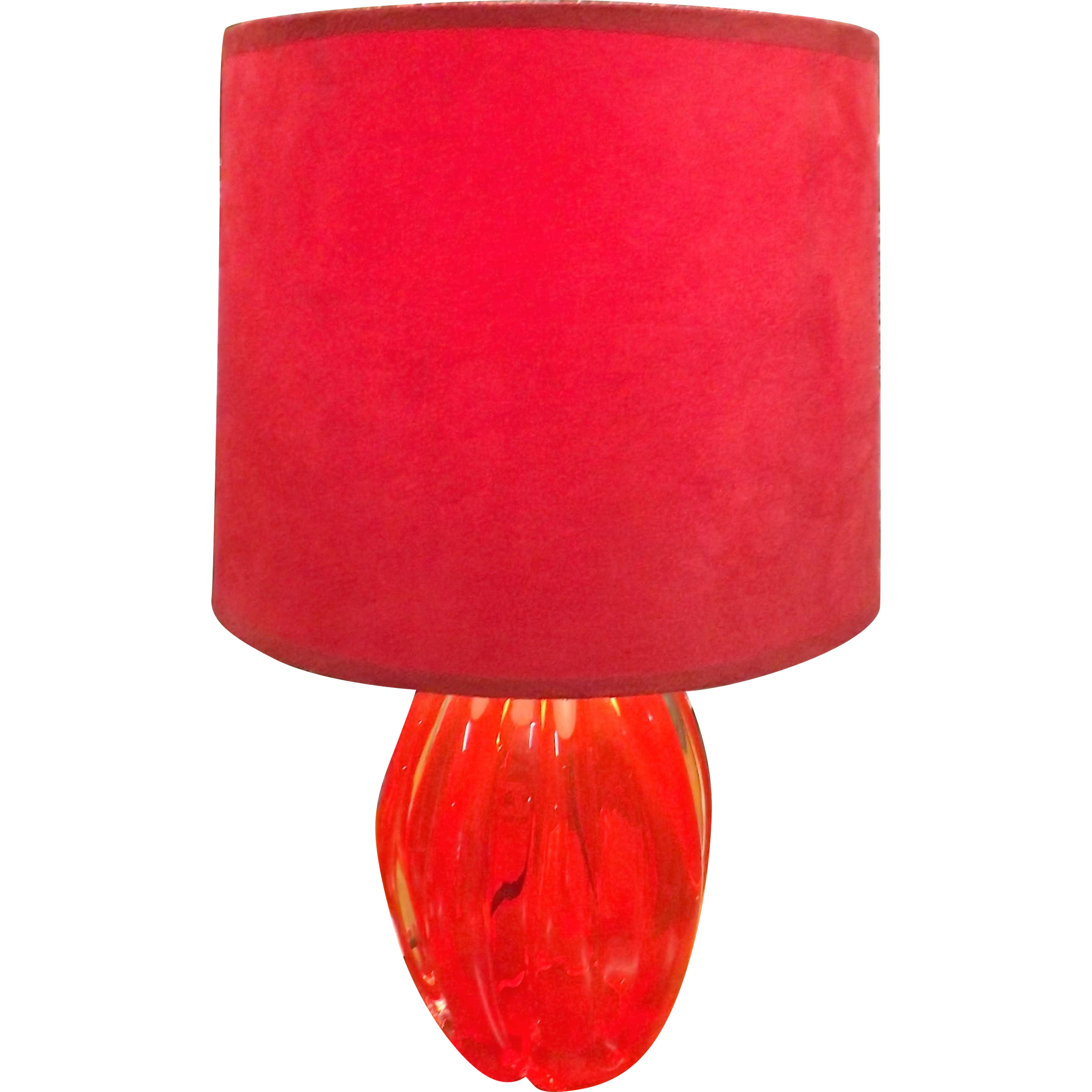 Stunning Raspberry Red Murano Art Glass Table Lamp - circa 1970's