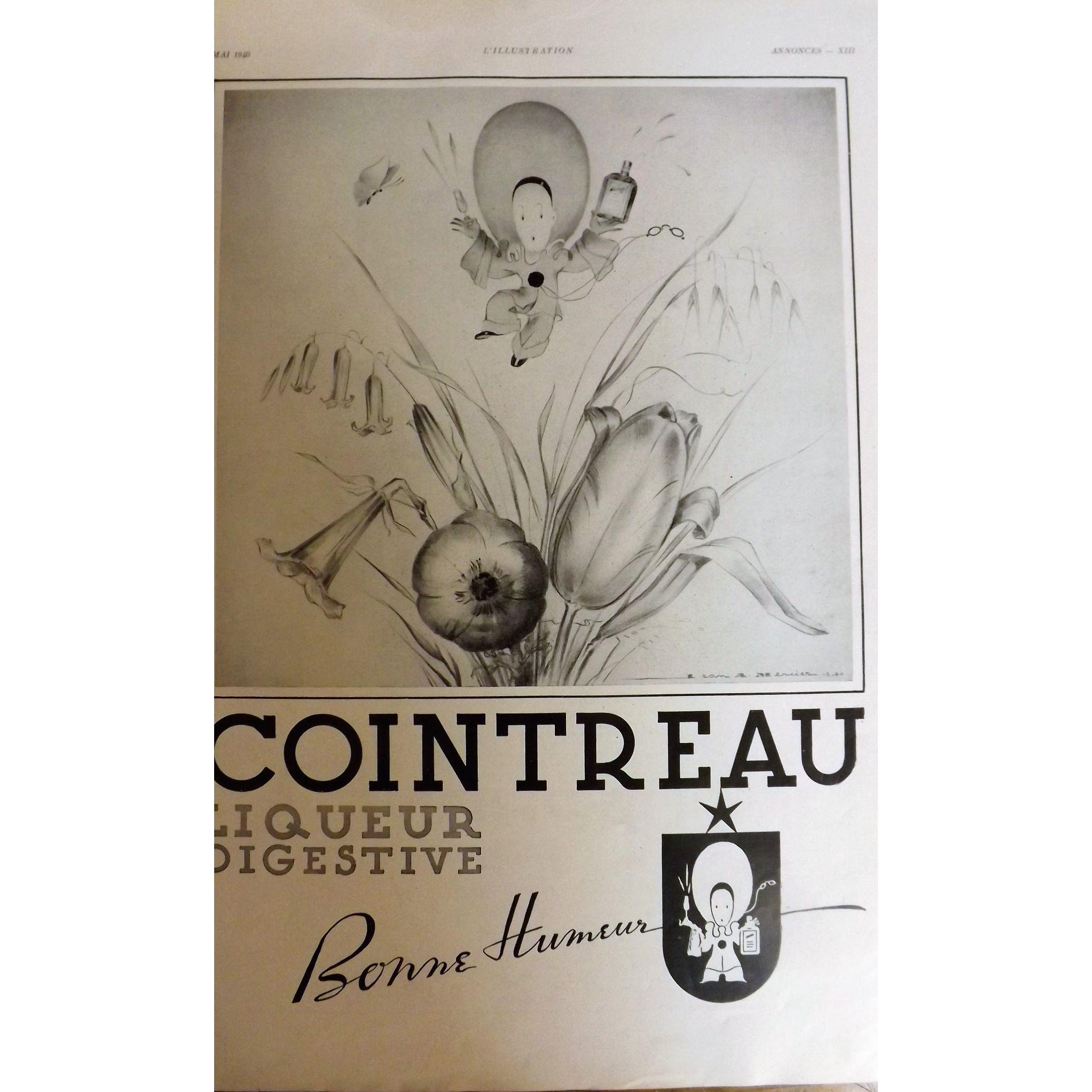 L'Ilustration French Magazine Original COINTREAU Liqueur DECO Advertisment 1940