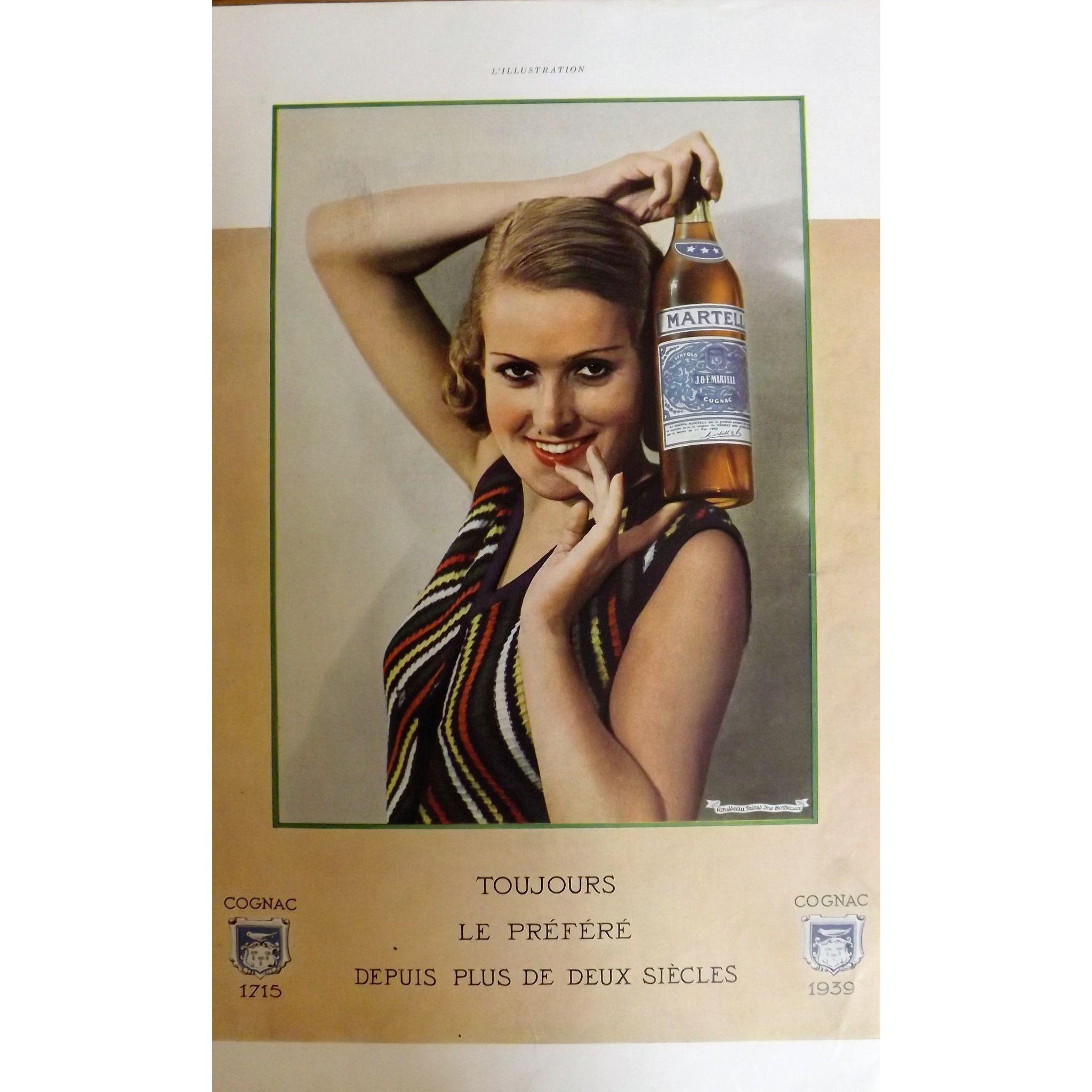 L'Ilustration French Magazine Original MARTELL Cognac DECO Advertisement 1939