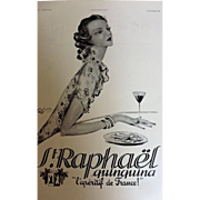 L'Ilustration French Magazine Original St. Raphael Aperitif DECO Advertisement 1937