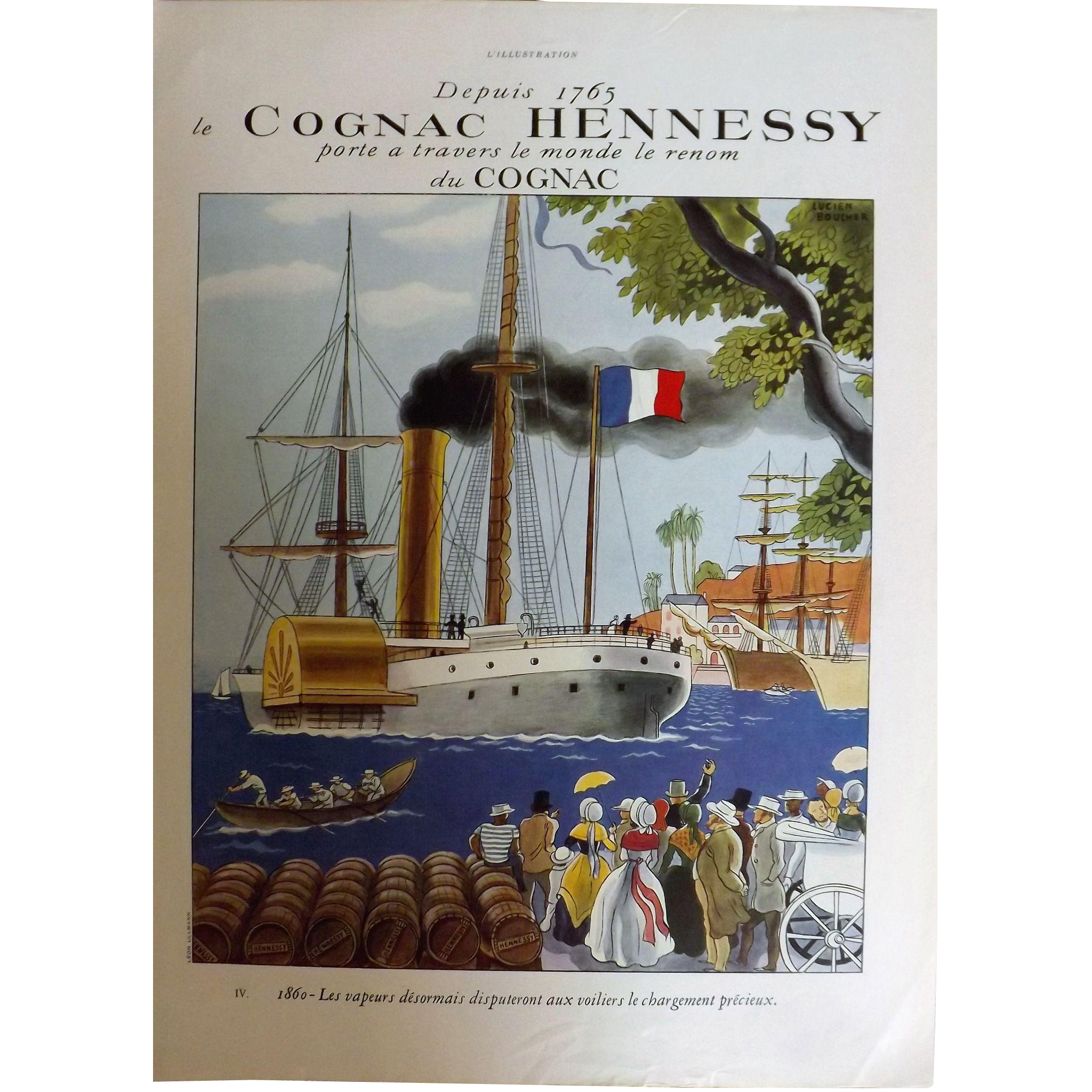 L'Illustration French Magazine Original  Cognac HENNESSY DECO Advertisement 1937