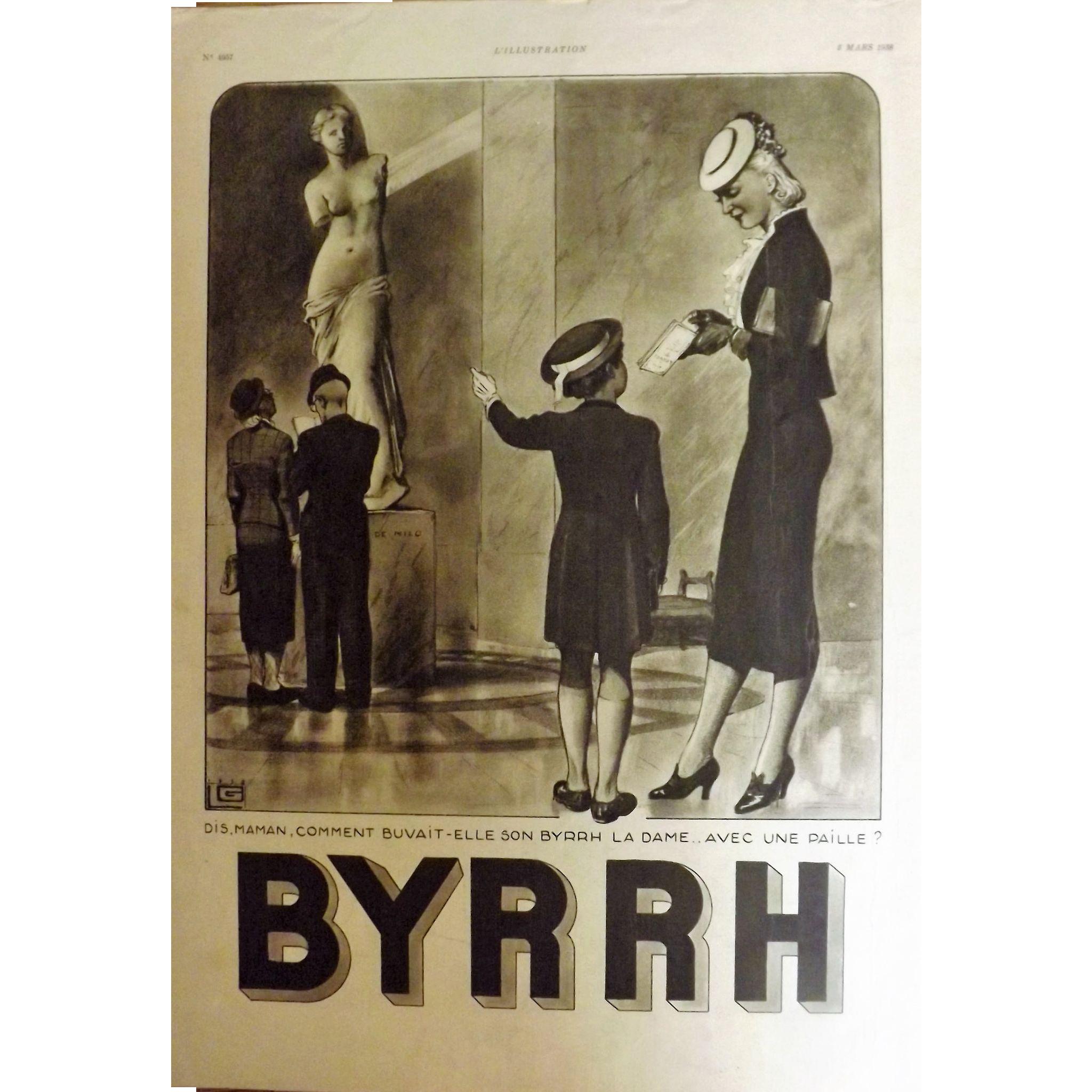 L'Illustration French Magazine Original  BYRRH Aperitif DECO Advertisement 1938