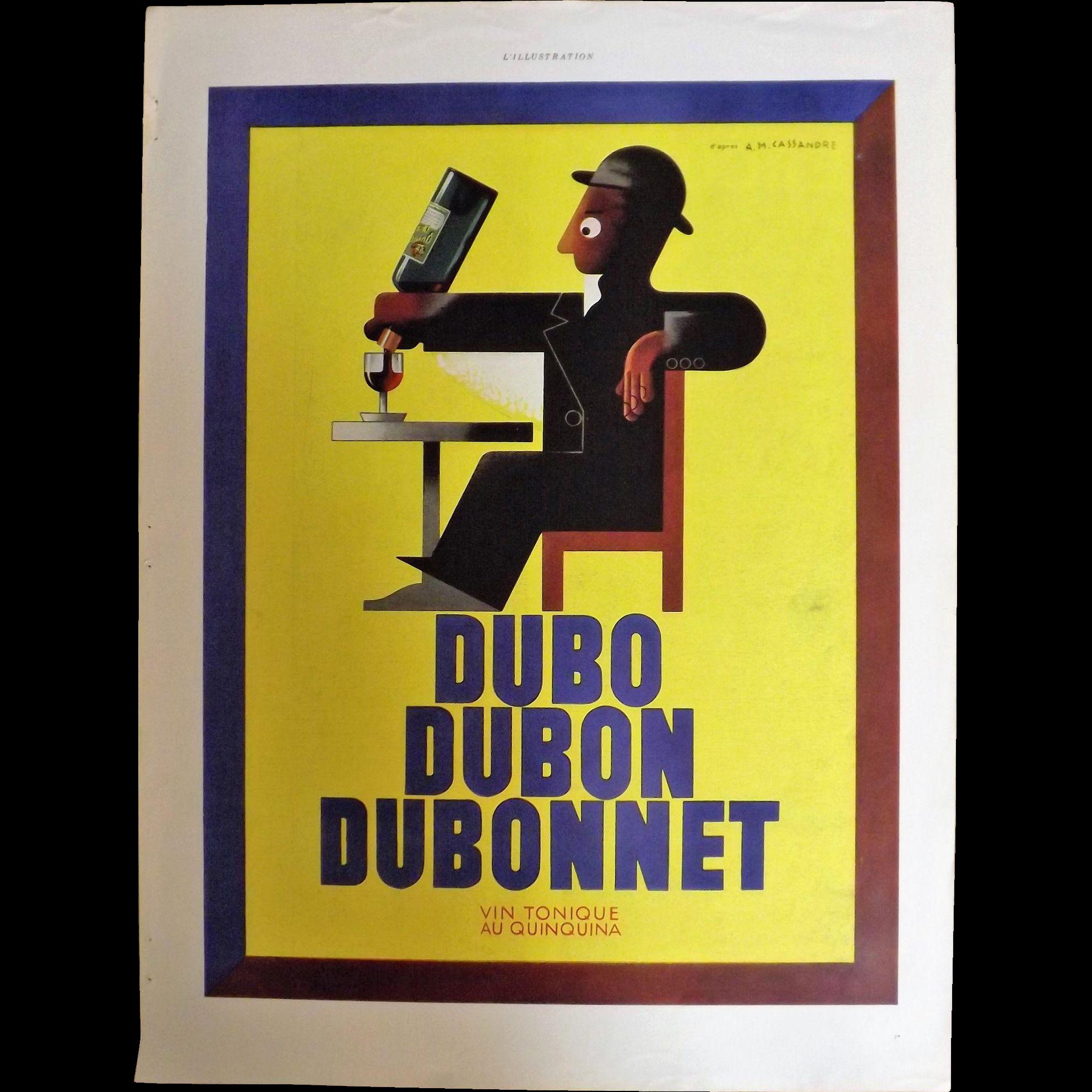 L'Illustration French Magazine Original  DUBONNET / EVIAN  - DECO Advertisement 1937
