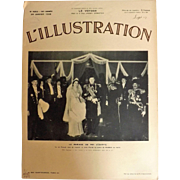 L'IIlustration French Magazine Original  FRONT COVER  1938  - King Farouk Egypt Marriage