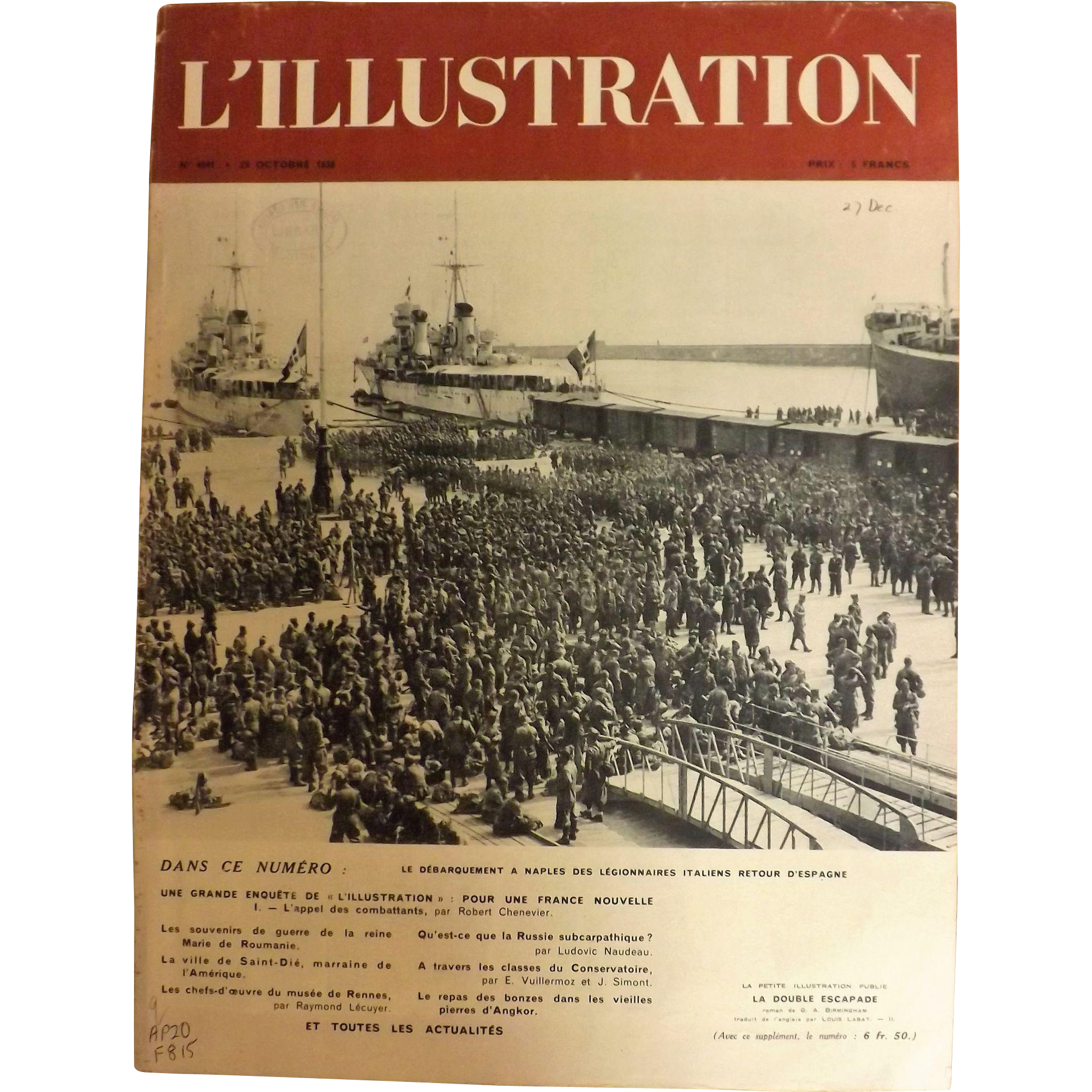 L'IIlustration French Magazine Original  FRONT COVER 1938 - Italian Legionnaires at Naples