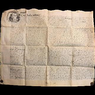 17th Century  English Indenture Vellum Document - Dated 1656  -  Cromwell Period