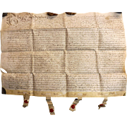 15th Century  English Indenture Vellum Document - 1689  -  King William 111 Period