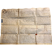 18th Century Vellum Indenture Document - Dated 1714 - Queen Anne Period