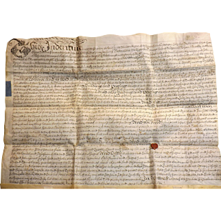 18th Century Vellum Indenture Document - Dated 1714 - Queen Anne Period