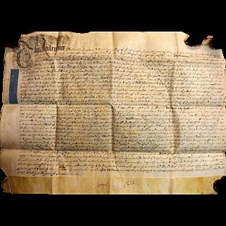 18th Century English Indenture Vellum Document - 1721 - King George 1st