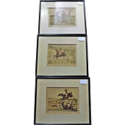 A set of Three English Horse Riding Hand Coloured Engravings -Circa 1840