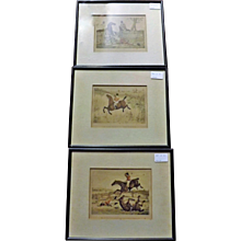A set of Three English Horse Riding Hand Coloured Engravings -Circa 1840