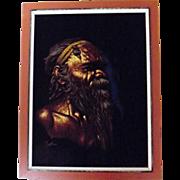 Black Velvet Australian Aboriginal Painting - Circa 1960  Signed 'Martinus'