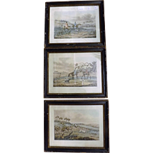 Set of 3 Early Victorian Hand Coloured 'Hunt' Engravings -1841 London