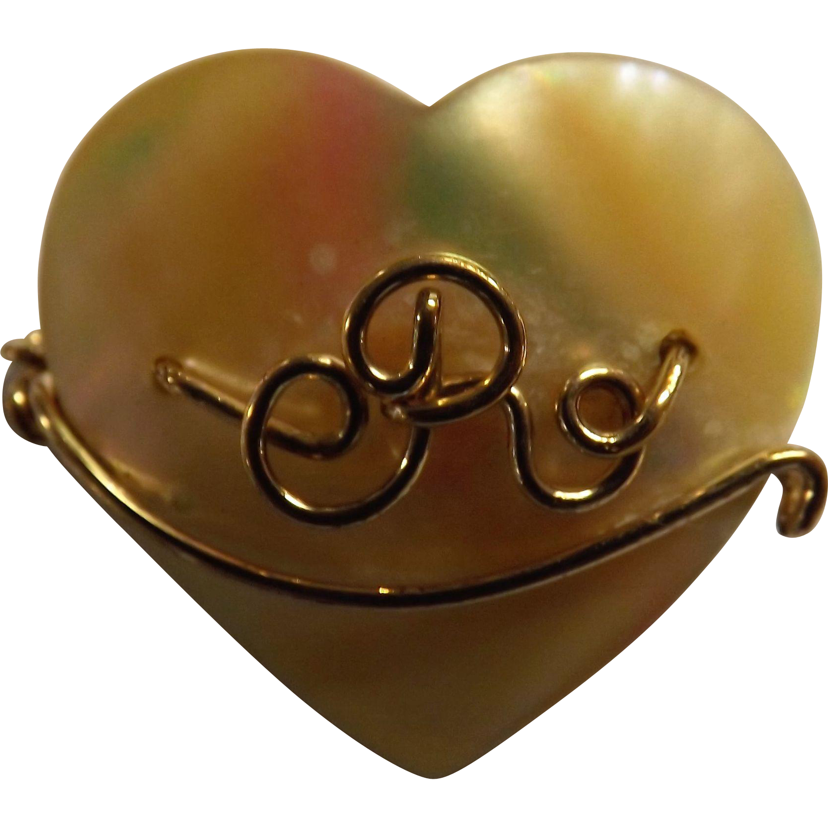 """Delightful Old M.O.P & 9 Carat Gold """"Initial R""""  Brooch"""