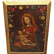 'Our Lady Of The Milk'  Stunning Oil on Canvas -  Peru Early 1900's