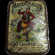 Macdonald's Glasgow KILTY Brand 'Golden Bar' Tobacco Tin - Circa 1910