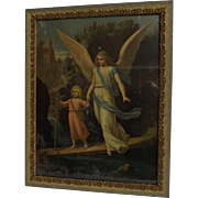 Victorian Lithograph of Angel With Baby Jesus