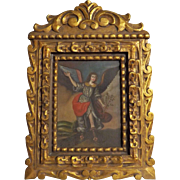 Archangel Michael ICON Oil on Canvas - Peru Circa 1940's