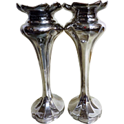An Elegant Pair of Silver Plate Art Nouveau Vases