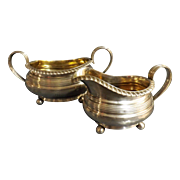 Georgian Fine Set of Silver Sugar Pot & Creamer By Reid & Sons, Newcastle 1820