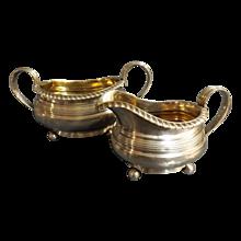 Georgian Fine Set of Silver Sugar Pot & Creamer By Reid & Sons, Newcastle 1820