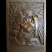 RARE French ART DECO Bronze Plaquette 'Au Soldat Inconnu' - Andre Lavrillier 1925