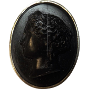 Vesuvio Black Lava Cameo Brooch / Pendant  - Dated 12th November 1892
