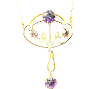 Edwardian Necklet of  Amethysts with Seed Pearls Set In 9 Carat Gold