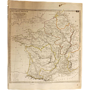 Antique Map of Ancient France -  By Prof. T Hewett Dated 1837