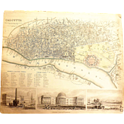 Antique Map of Calcutta - India -1842
