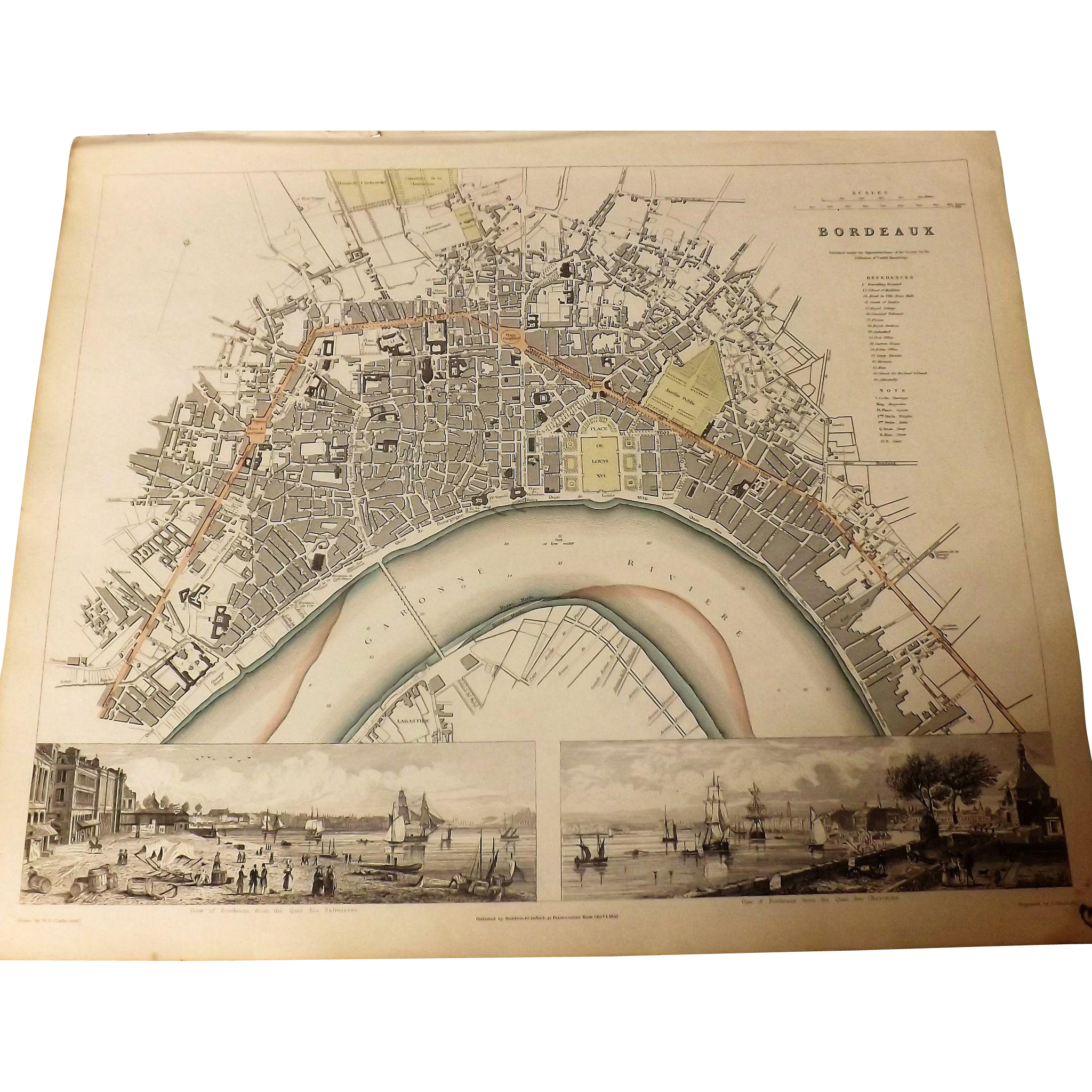 Antique Map of BORDEAUX -Dated 1832
