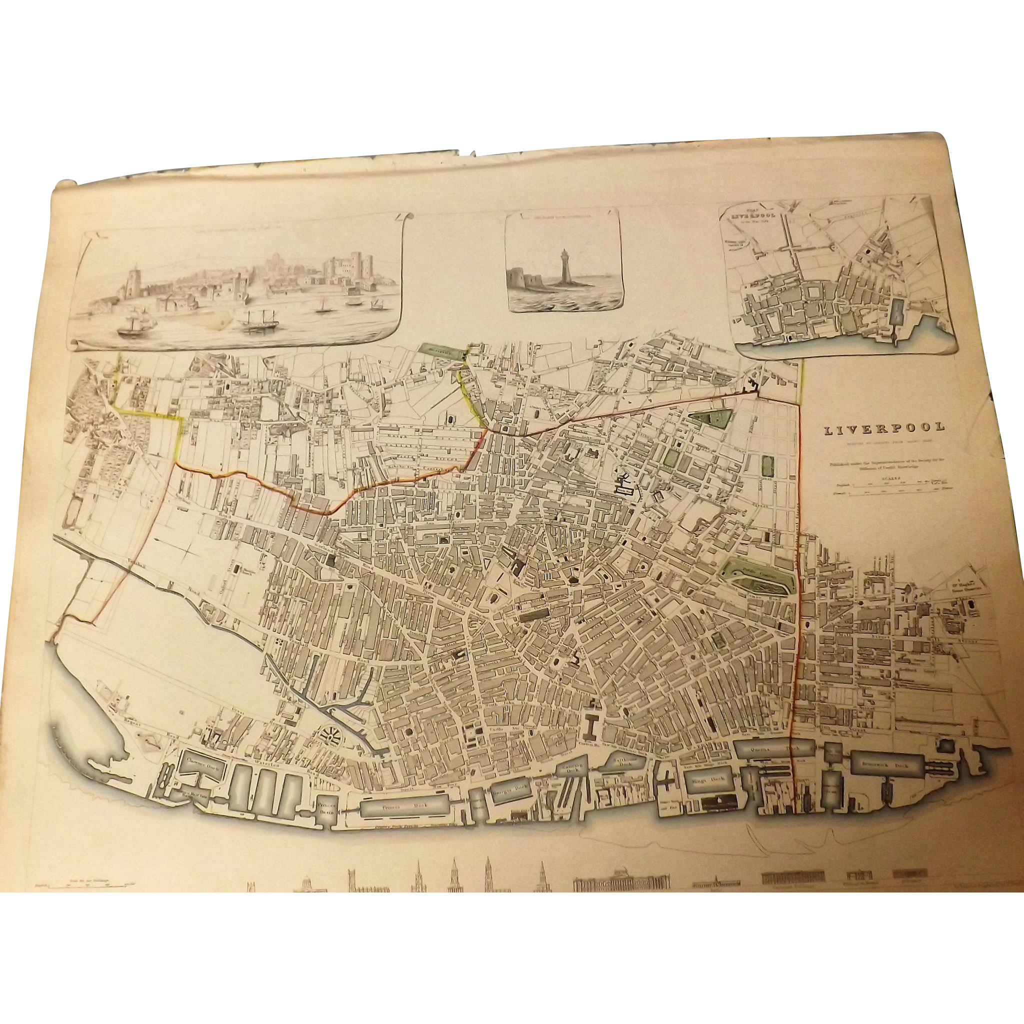 Antique Map of Liverpool - Dated 1836