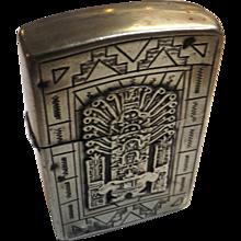 Sterling Silver Cased ZIPPO - Aztec Designs