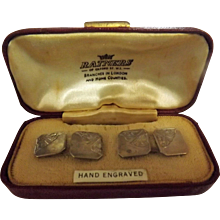 Sterling Silver Cufflinks In Presention Box- Early 1900's