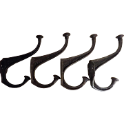 A Set of Four Victorian Large Steel Coat Hooks