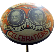 "WWII Victory Celebrations ""Churchill & Roosevelt' Tin-back Badge"