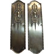 A Pair Of Brass Art Nouveau Door Push Plates - England Circa 1900