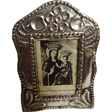 Tiny Peruvian 925 Grade Silver Photo Frame -Circa 1903's-40's.