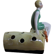 Art Deco 'Flapper' Porcelain Hat Pin Holder / Flower Frog - Circa 1920's Germany