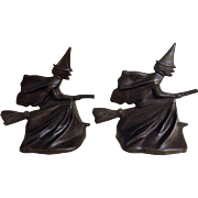 A Pair of Rare HUBLEY Broomstick Flying Witch Book Ends in Bronze - USA Early1900's