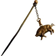 Victorian 9 Carat Rose Gold Pig Stick Pin