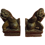 A Pair Of Hand-Carved Wooden FOO DOGS