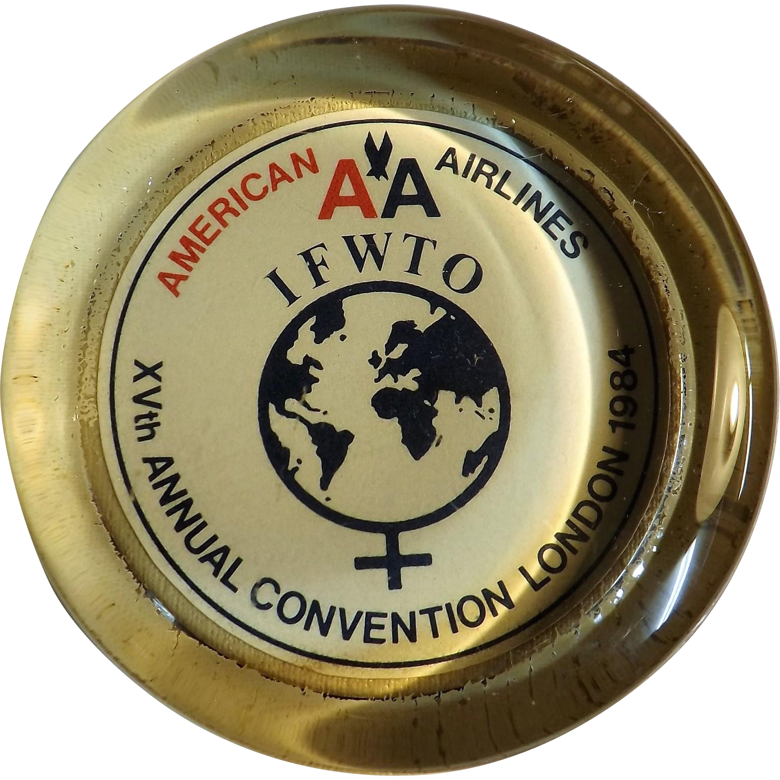 I F W T O Annual Convention 1984 Souvenir Paperweight American Airlines