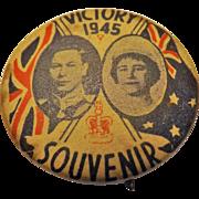 King George VI & Queen Elizabeth 1945 Victory Badge Souvenir