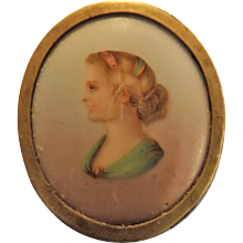 Victorian Brooch Hand Painted on Porcelain With Jet Mount