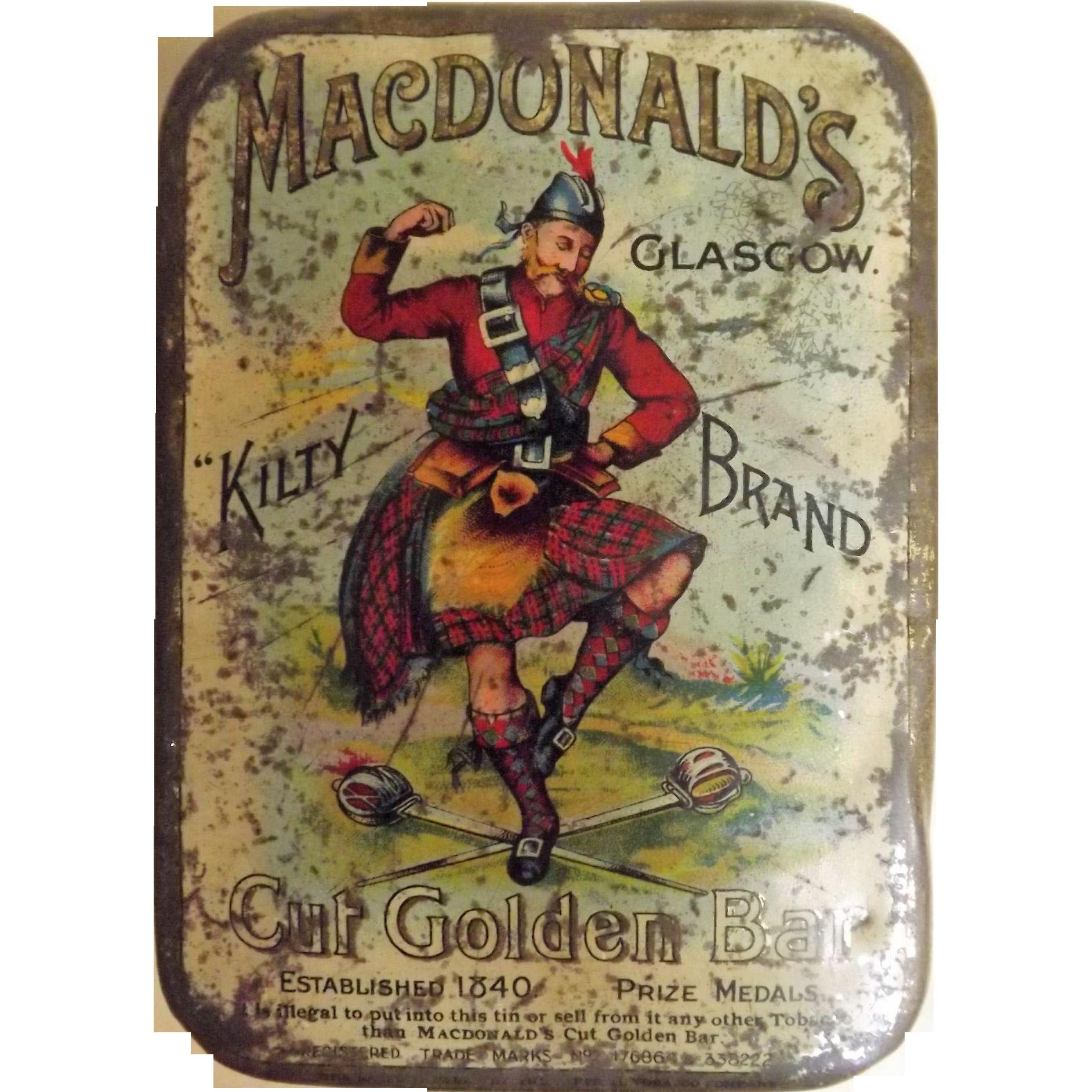 Macdonald S Kilty Brand Cut Golden Bar Tobacco Tin From
