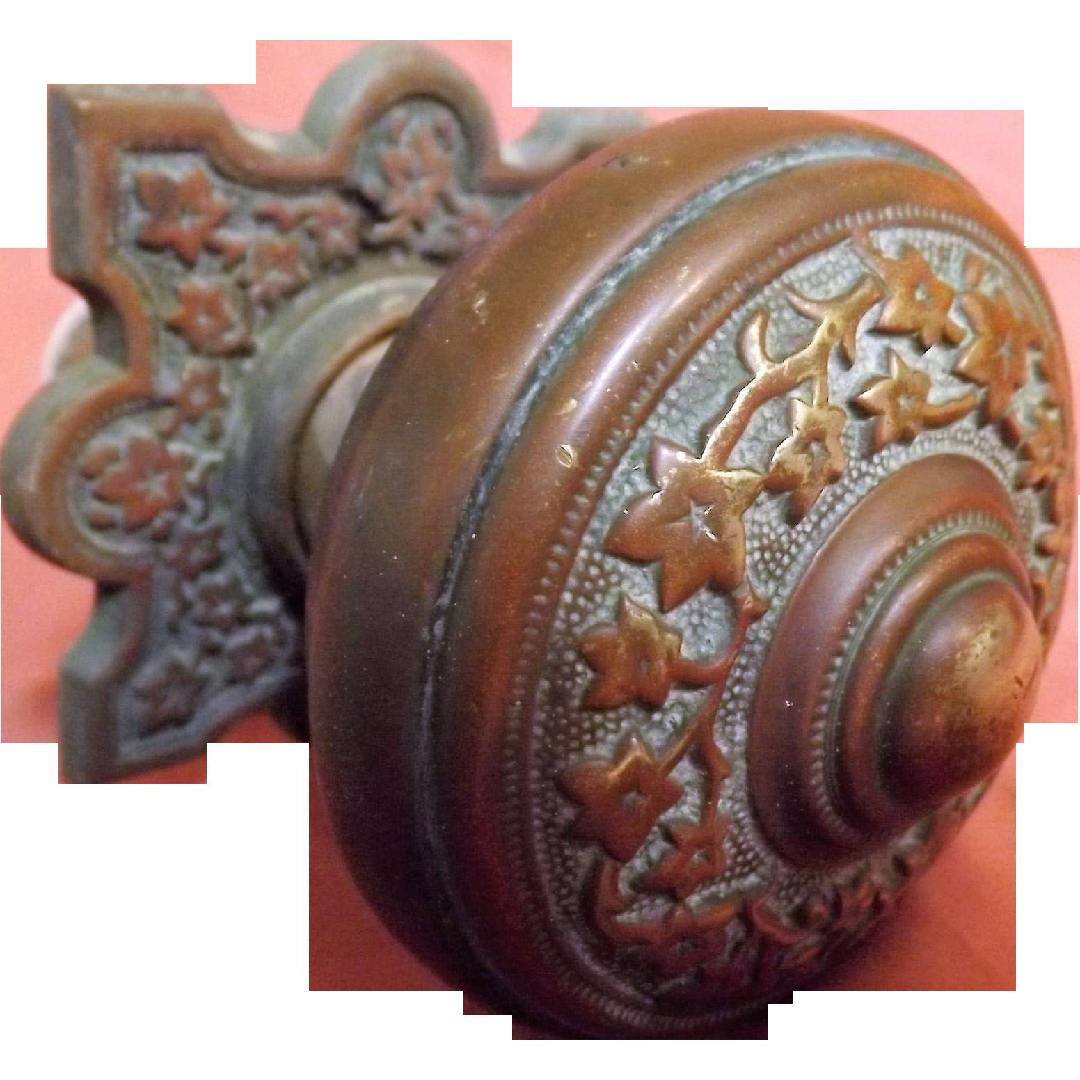 Big Ornate Victorian Solid Brass Door Pull / Handle - Circa 1888