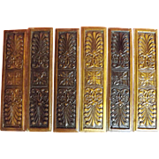 A Set of Six Victorian Ornate Hand Carved Wooden Door Push Plates