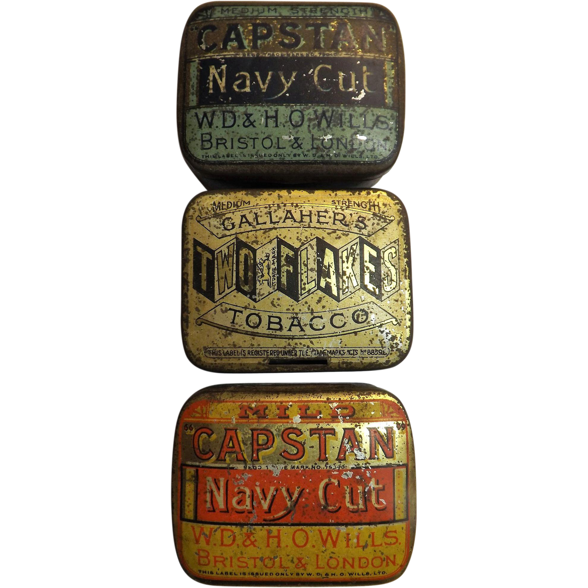 Three Small One Ounce Tobacco Tins